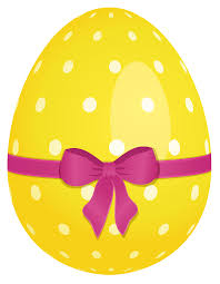 easter egg yellow dotted easter egg with pink bow clipart cliparting