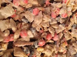snowflake mix holiday candy chex like cereal pretzels peanuts