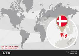 Portugal On The World Map by World Map With Magnified Denmark Stock Vector U0026 Stock Photos