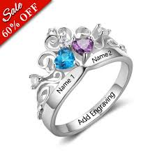 birthstone rings for heart birthstone ring in silver princess ring