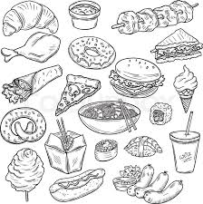 collection of fast food sketches stock vector colourbox