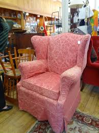 Wing Chair Slipcover Pattern Pink Flower Pattern Chair Cover For Wingback Chair On Waverly Rug