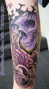awesome 3d japanese skull cool tattoos