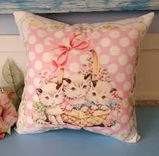 Retro Nursery Decor Handmade Vintage Kitsch Kitten Pillow Retro Nursery Decor