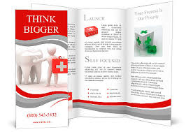 men with medical case and tooth dentist 3d brochure template