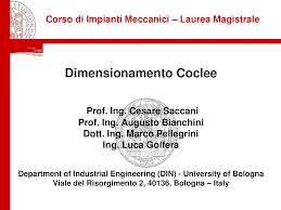 impianti meccanici dispense esercitazione dimensionamento coclee docsity