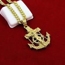 necklace chains hip hop images Mens gold iced out cz anchor jesus pendant 24 quot cuban chain hip hop jpg