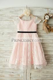 wedding flower dresses ivory lace pink lining wedding flower dress with sleeves