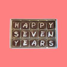 7th anniversary gifts for him happy seven 7 years cubic chocolate by what candy says on zibbet