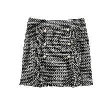 tweed skirt pearl beading button detail ruffle trim tweed skirt women fashion