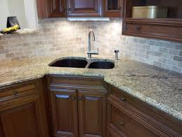Sinks Granite Countertop Ceramic Tile Backsplash Brown Cabinet - Corner kitchen sink cabinet