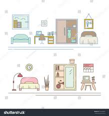 vector banner thin line icons interior stock vector 419364832
