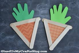 popsicle stick handprint carrots kid craft glued to my crafts