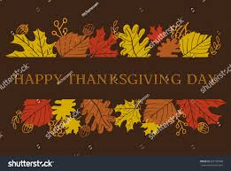 happy thanksgiving day banner leaves acorns stock vector 697729306