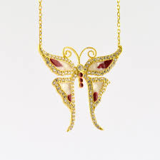 butterfly gold necklace images 925 sterling silver yellow gold plated butterfly necklace trianda JPG