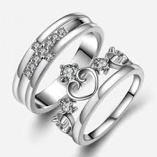 couples rings images Evertogether cross crown zircon silver couples rings jpeg