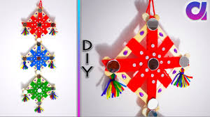 diy easy woolen wall hanging design from popsicle sticks