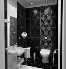 awesome small bathroom design with black floral tile wall and