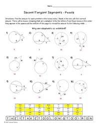Segment Lengths In Circles Worksheet Answers And Tangent Segments Circle Theorems Puzzle Worksheet