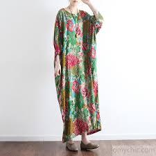 new green prints linen dresses plus size vintage casual caftans long sleeve maxi dress1 2 jpg