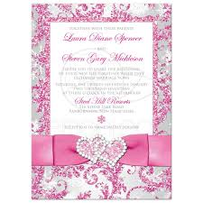 winter wonderland photo option wedding invite frosty pink
