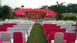 reception stage decor at gunjan party plot decoration by ganesh