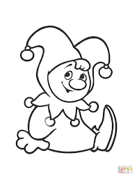 cute clown coloring page free printable coloring pages