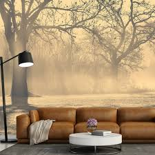 living room trees misty trees wall mural forest landscape wallpaper living room