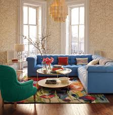 colorful mid century modern living room with pretty wallpaper and