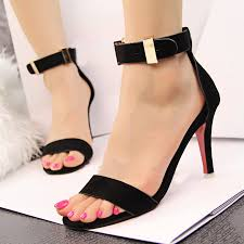 red high heel shoes with ankle strap is heel