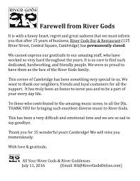 Farewell Business Email by Cambridge Restaurant And Dj Hotspot River Gods Has Permanently