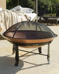 outdoor wrought iron and copper fire pit set balsam hill