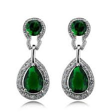 green drop earrings vintage design luxury teardrop silver emerald green drop
