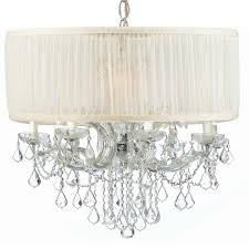 Chandelier With White Shade Crystorama Crystorama Brentwood 12 Light Drum Shade Chrome