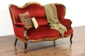 Red Loveseat Victorian 1890 U0027s Antique Loveseat New Red Velvet Upholstery