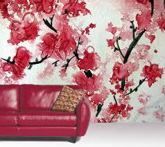 cherry blossom aquarelle a wallpaper mural by muralunique com