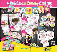 Diy 1st Birthday Centerpiece Ideas Girls Monster Party Package First Monster Birthday Party1st
