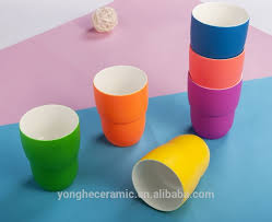 no handle stackable coffee mugs with shining colors in matte