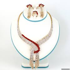 sterling silver necklace set images 925 sterling silver gold plated maroon necklace set 1054 96 JPG