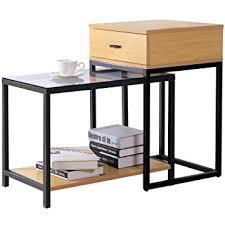 table de canapé lifewit table d appoint moderne à 2 pièces avec tiroir rangement