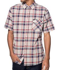 What Is Plaid Brixton Howl Oatmeal Blue And Burgundy Plaid Button Up Shirt