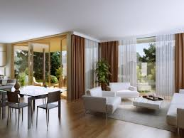 white fabric sofa on the rug and white brown curtains connected by