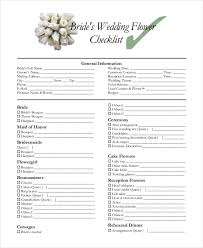 wedding flowers questionnaire simple wedding checklist 23 free word pdf documents