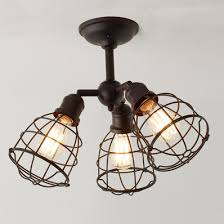 wire cage l shade semi flush mount ceiling lights shades of light