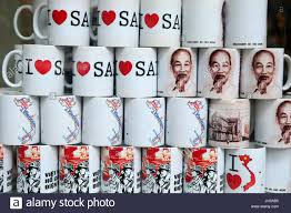 vietnam mugs for sale ho chi minh city vietnam stock photo
