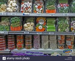 packages of pre cut portioned vegetables in a supermarket in new