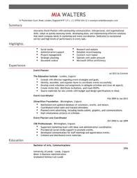 event planner resume event planner cv exle for marketing livecareer