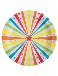 vaisselle jetable fete 10 assiettes en carton cirque 23 cm décoration anniversaire et