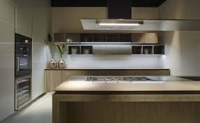 contemporary kitchen wood veneer island lacquered fly ri