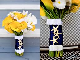 nautical wedding wedding theme navy blue yellow wedding flowers bouquets